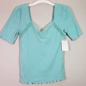 Free People Margaux Sweetheart Lace Top in Seafoam